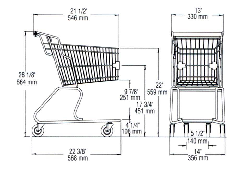 dimension shopping cart ms002