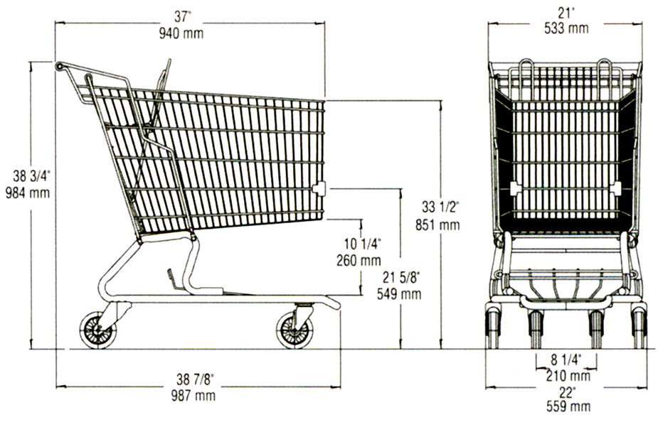 dimension shopping cart ms112
