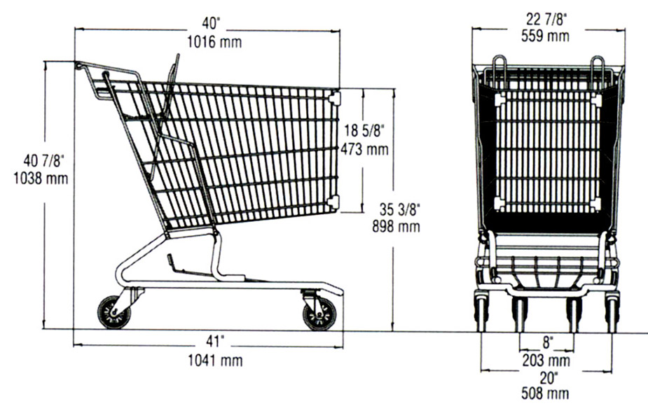 dimension shopping cart ms114