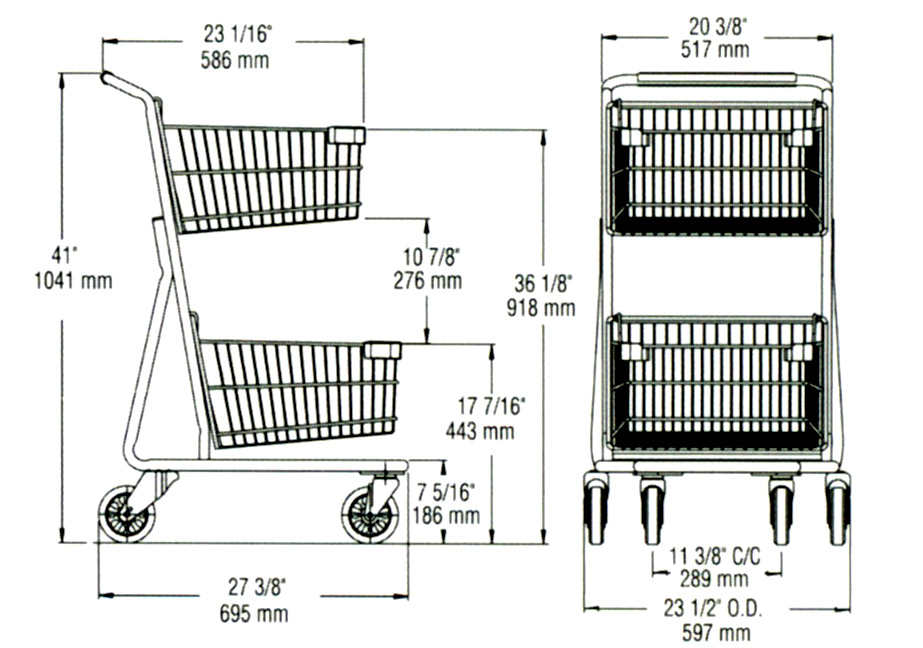 dimension shopping cart ms326-2