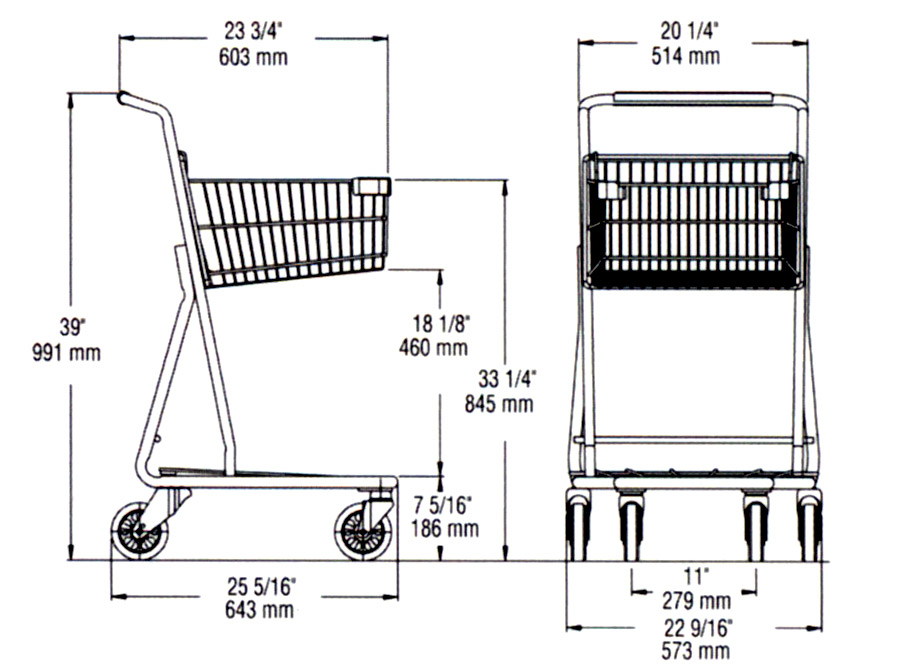 dimension shopping cart ms326