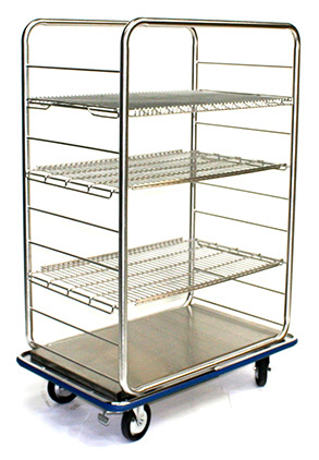 open case cart stainless steel